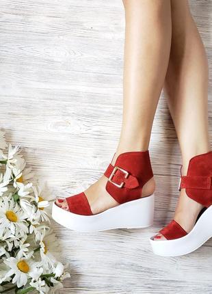 Босоножки на платформе натуральная замша р36-40 сандалии туфли босоніжки сандалі туфлі
