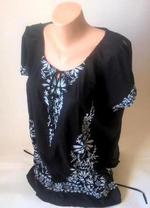 -50% на вторую вещь хлопковая блуза туника с вышивкой оверсайз