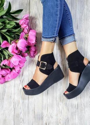 Босоножки на платформе чёрные натуральная замша р36-40 сандалии туфли босоніжки сандалі туфлі