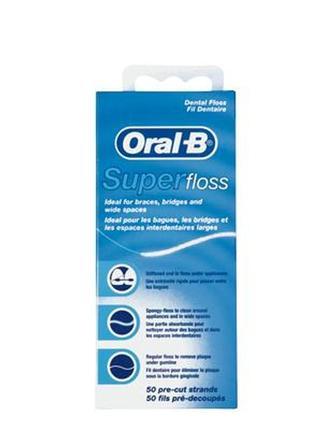 Oral-b зубная нить super floss (50 ниток в упаковке)