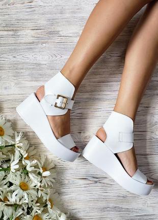 Босоножки на платформе белые натуральная кожа р36-40 сандалии туфли босоніжки сандалі туфлі