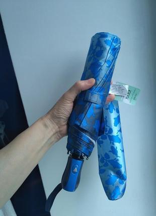 Зонт полуавтомат сверкающий,голубые розы на сером.