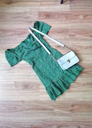 Короткое зеленое платье мини плаття в цветочный принт коротка зелена сукня міні в квітковий принт