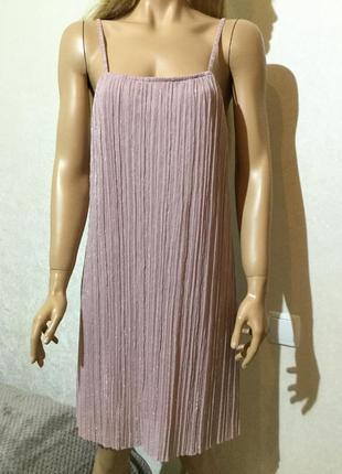 Платье гофре плиссе пудрового цвета с люрексом размер l