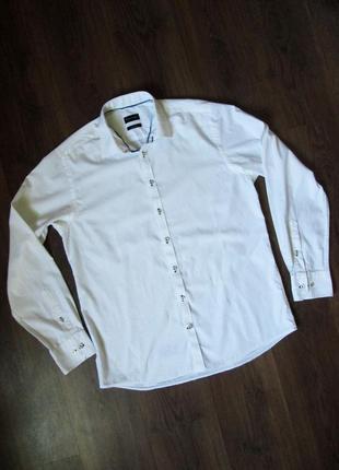 Мужская белая рубашка, ширина в груди 55 см. bruun&stengade 42