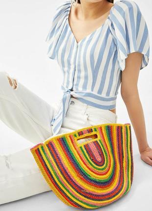 Разноцветная сумка-корзина из джута bershka оригинал