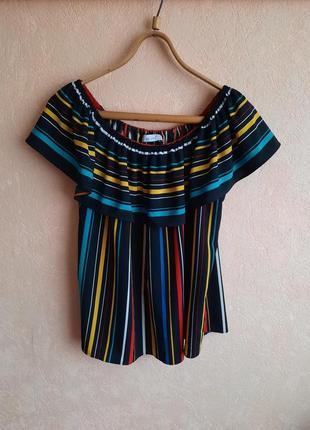 1+1=3 разноцветная блуза с воланом свободного кроя