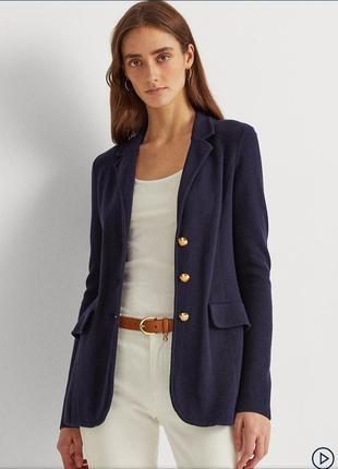 Madeleine трендовий трикотажний піджак жакет блайзер кардиган на гудзиках  темно синього кольору