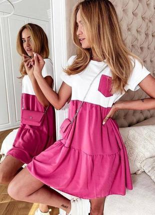 2 цвета - с,м,л,хл , платье мини, платье софт, платье с карманом, платье легкое (арт 100425)