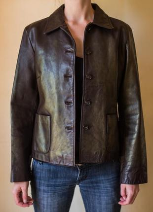 Кожаная куртка-пиджак j crew размер м