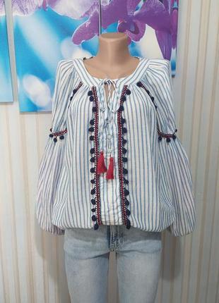 Aпупительная блуза рубашка обьемный рукав хлопок лен от zars
