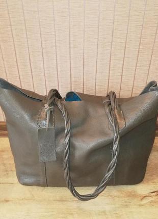 Новая!!! сумка-шопер, натуральная кожа, цвет хаки.