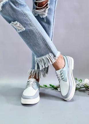 Нежные кожаные туфли р36-41 мокасины кеды балетки дерби броги шкіряні туфлі мокасини кеди