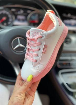Кроссовки urban, белые с розовым, экокожа7 фото