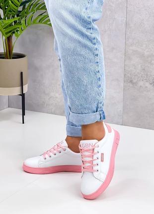 Кроссовки urban, белые с розовым, экокожа
