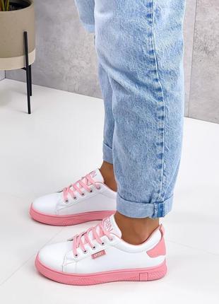 Кроссовки urban, белые с розовым, экокожа2 фото