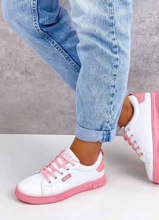 Кроссовки urban, белые с розовым, экокожа6 фото