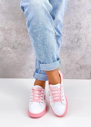 Кроссовки urban, белые с розовым, экокожа4 фото