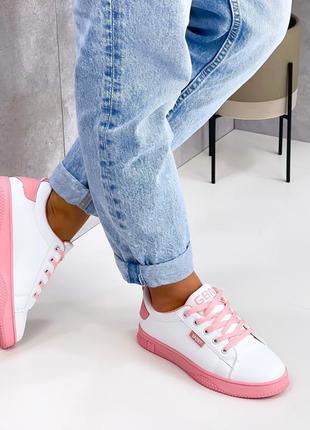 Кроссовки urban, белые с розовым, экокожа3 фото