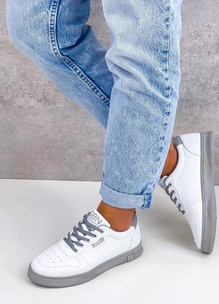 Кроссовки urban, белые с серым, экокожа2 фото