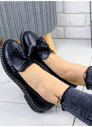 Женские туфли лоферы натуральная кожа loka черные