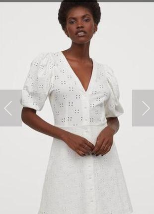Стильное белое платье прошва вышивка объемный рукав