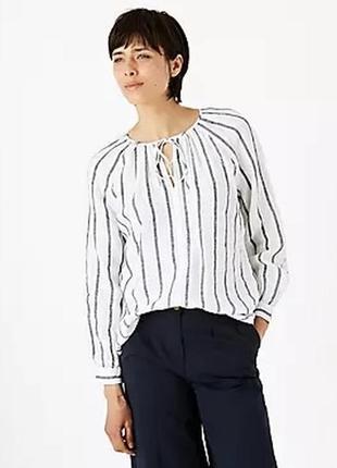 Сорочка в полоску льон100% marks&spenser,розмір м-л🔥