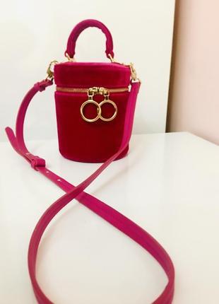 Стильна сумка туба велюрова кольору фуксі