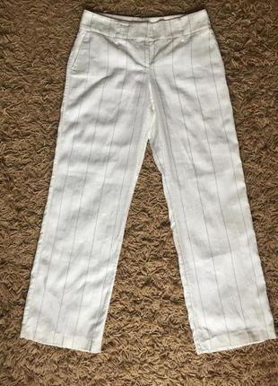 Белые брюки прямого кроя из натуральной ткани в полоску. esprit. p.10us {наш 46}
