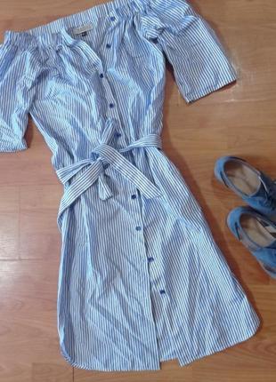 Платье рубашка открытые плечи