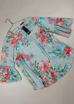 Блуза топ новая шикарная цветочная большого размера f&f uk 20/48/3xl