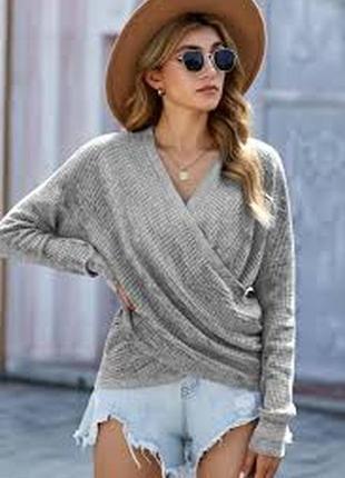 Серый меланжевый пуловер в рубчик лонгслив