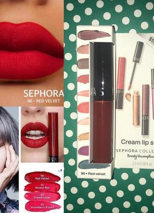 Матовая помада sephora cream lip stain velvet red 96