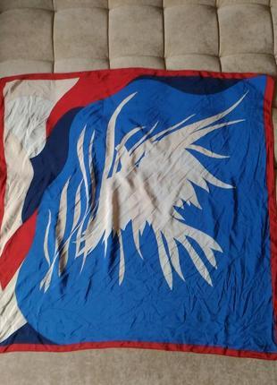 Эксклюзивный коллекционный шелковый платок  gres paris взлетающая птица голубь обмен