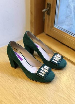 Зелёные изумрудные замшевые туфли, натуральная кожа why denis