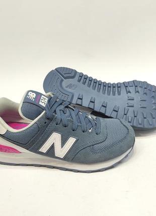 Кросівки жіночі new balance 574 сині замш оригінал нові5 фото