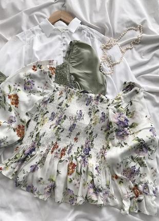 Стильная блуза, топ с объёмными рукавами из натуральной ткани в цветочный принт