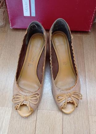 Нежные кожаные летние туфли босоножки marco tozzi