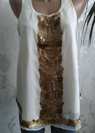 Romeo& juliet шикарная блуза майка с паетками. р.44-46.
