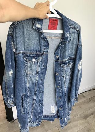 Джинсовый удлиненный пиджак кардиган
