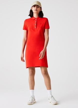Красно-коралловое оригинальное платье lacoste