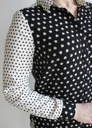 Оригинальная черно - белая блузка из вискозы3 фото