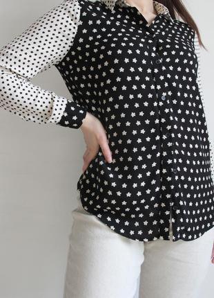 Оригинальная черно - белая блузка из вискозы5 фото