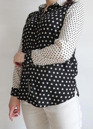 Оригинальная черно - белая блузка из вискозы6 фото