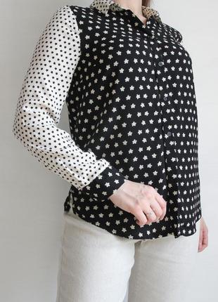 Оригинальная черно - белая блузка из вискозы
