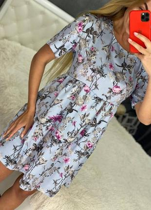 Платья 13 цветов (с, м, л, хл), платье мини, платье оверсайз, нежное платье (арт 100405)