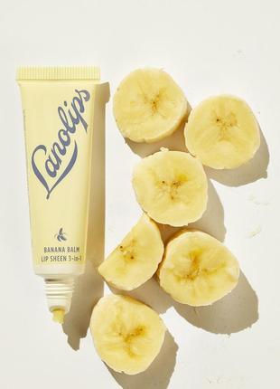 Банановый бальзам для губ lanolips banana balm lip sheen 3-в-1