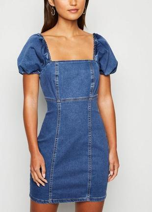 Asos джинсовое платье с объемными рукавами new look