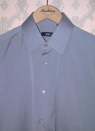 Мужская серая классическая рубашка от hugo boss