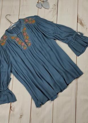 Блуза натуральная свободная в бохо стиле tu uk 18/46/xxl
